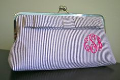 seersuck clutch, clutch purse, clutches, preppy, bridesmaid gifts, bows, flats, monogram clutch, monograms