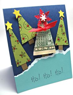 Want a cute way to give money. rather than stuffing money in the card, turn it into a Christmas tree! christmas cards, stamping up, gift ideas, up north, cash gifts, money cards, christmas trees, money trees, christmas gifts