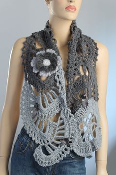 Grey Wool Crochet Scarf Shawl with Pin - Flower  by Lucy Levintovich (She is amazing!!!)