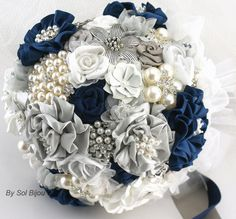 Brooch bouquet mint and navy blue   Brooch Bouquet Wedding Bouquet Navy Blue, White and Silver with ...