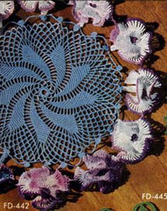 NEW! Petunias Doily crochet pattern from Newest in Floral Doilies, Book No. 268, from 1950.