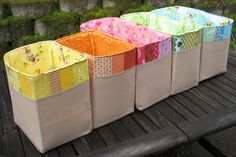 A pretty & useful way to save scrap fabrics by colour!