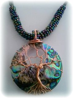 Tree of Life copper wire wrapped Abalone by RecycledBeautifully, $28.00 - pretty