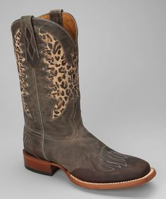 Brown Leather C-Toe Eagle Distressed Western Boot - Women by Johnny Ringo Boots on #zulily today!
