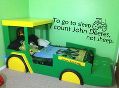 @Elizabeth Lockhart Clifton Logue made me think of you!! John Deer Tractor Wall Decal To go to sleep I by RemarkableWalls, $25.00
