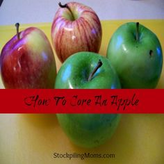 How To Core An Apple with a Knife  http://www.stockpilingmoms.com/2012/10/how-to-core-an-apple-pin-it/