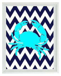 Nautical Nursery Chevron Crab Art Print Set - Beach Aqua Navy Blue - Children Room Beach House- Wall Art Home Decor 8x10 via Etsy