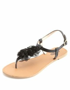 Chiffon Rosette T-Strap Thong Sandals: Charlotte Russe