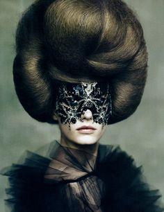 paoloroversi, fantasy makeup, vogue italia, mask, big hair, avant garde, fashion photography, paolo roversi, masquerad