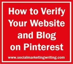 How to Verify Your Website and Blog on Pinterest