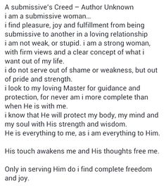 the submissives creed