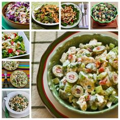 20 Favorite Beat the Heat Summer Salad Recipes to Make with Leftover Rotisserie Chicken; delicious cold salads to eat all summer long! [from Kalyn's Kitchen] #LowCarb #SouthBeachDiet #Summer #ChickenSalad