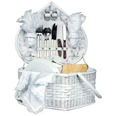 Take your love on a romatic date! Picnic Time Wedding Heart White Picnic Basket