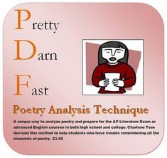 A unique way to analyze poetry and prepare for the AP Literature Exam or advanced English courses in both high school and college. I devised this m...