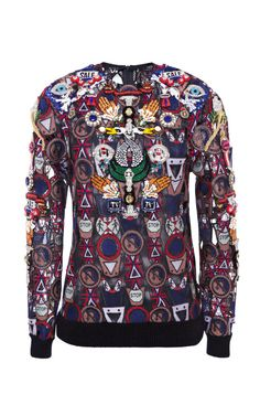 Poppycon Embroidered Lace Sweater by Mary Katrantzou for Preorder on Moda Operandi