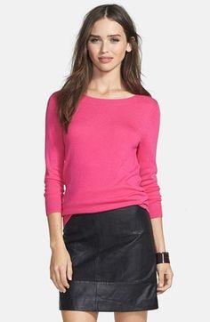 Halogen® Three Quarter Sleeve Sweater (Regular