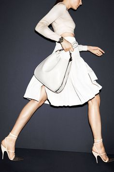 cropped top + ladylike + white + cream + skirts {ladylike mixes of white & cream for spring 2014 via harper's bazaar}