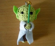Yoda String Voodoo Doll. I'm SO making this today for my father. ;)