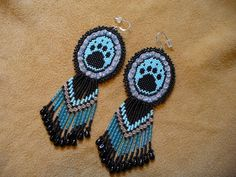 peyote sitch beaded Native American inspired Paw by DebsVisions, $40.00