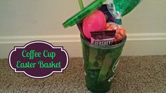 Unique Easter Basket Ideas: Coffee Cup Easter Basket #Easter #EasterBaskets easter idea, cup easter, basket idea, basket parti, coffee cups, uniqu easter, baskets, bags, easter basket