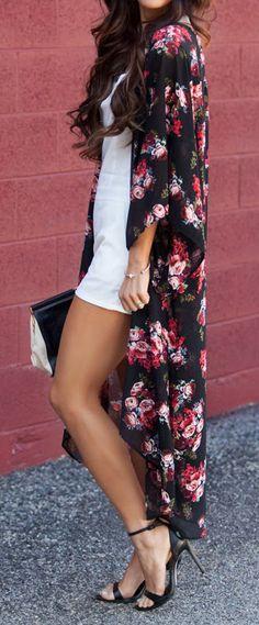 Floral kimono: Windsor White Romper Black heels