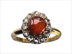 Late 19th Century Victorian Rose Cut Diamond & Garnet Ring, 18K