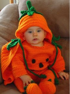 Halloween is fun time of the year for children, and even adults get into the action when it comes to dressing. Get ready for fall with the playful and festive Precious Pumpkin Romper Set. Your child will steal the hearts of everyone that sees them in these adorable creations that you have crocheted. The Precious Pumpkin crochet pattern set includes the darling Pumpkin Sweater, Pants, Pumpkin Booties, and Cape. Making a child's crochet outfit for a Halloween costume provides warmth on a