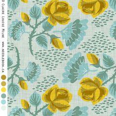 Yellow Rose fabric by needlebook on Spoonflower - custom fabric