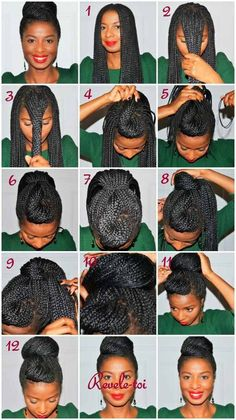 mini box braids in an up-do
