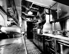Interior view taken inside the old Dining Car Kitchen. This view is from the waiter's galley looking back into the kitchen.