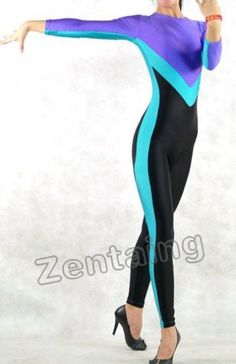 Black Blue And Purple Lycra Spandex Catsuit Zentai