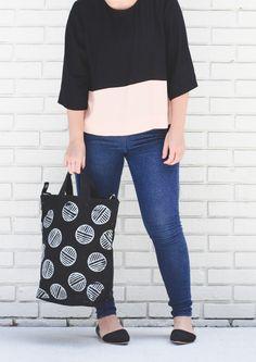 Linoleum Block DIY Stamped Tote Bag