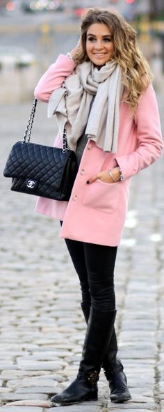Grey Pink and Black Winter Outfit