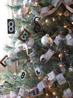 paper garlands, christmas tree ideas, decorating ideas, christma decor, christma tree, christmas tree decorations, christmas trees, construction paper, old books