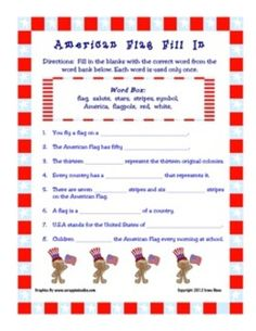 Flag Day Activity Book: 9 pages total. Perfect for the end of the school year.  Activities/Pages Included:   Cover, Flag Information Page, ABC Order, Fill In, Acrostic Poem, Word Search, Teacher Answer Keys $