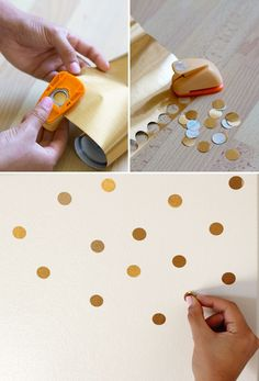 Circle punch gold contact paper to decorate your fridge (or walls, or whatever!)