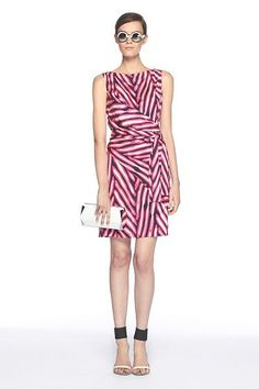 #Shina Dress by DVF: Pink/Midnight herringbone. 100% silk jersey. #Dress #DVF #Silk    Please visit my blog for more cool stuff!    Also Please Repin Thanks!