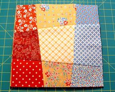 Crazy Nine Patch - oldie but goodie,  a super easy block you can make with 9 fat quarters