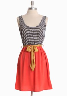 Coral, gold and stripes