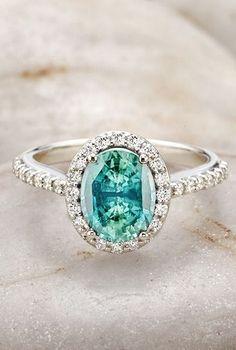 Sapphire Halo Ring ღ