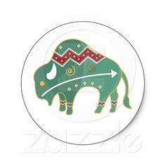 Sticker Buffalo Design Native American from Zazzle.com