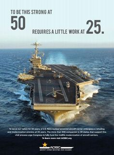 The Aircraft Carrier Industrial Base Coalition (ACIBC) released its new ad urging Congress to fund the aircraft carrier midlife modernization (known as refueling and complex overhaul or RCOH) for USS George Washington (CVN 73), which is scheduled to begin its midlife modernization in 2016. #WashingtonCVN73 #RCOH #AircraftCarrier
