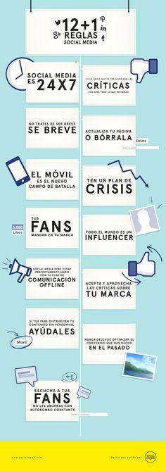 12+1 reglas de Social Media Infografía en español. #CommunityManager