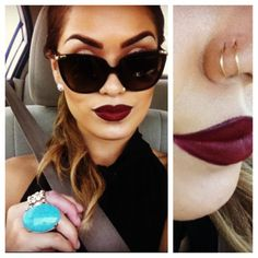 doubl nose, nose rings, makeup, red lips, dark lips, lip colors, nose piercings, diva, lipstick colors