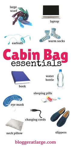 All the must-have items for your carry-on bag! Pack wisely! #pack #travel #cabinbag #slippers #pillow #mask #socks #cords #book #scarf #laptop #pills #earbuds #water