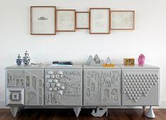 Casa de Valentina - Décor cheio de personalidade interior, credenzas, decoração, leo, art displays, furniture, design, gray plastic