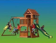 New All Cedar Outdoor Play Set Swing Wooden Pre Cut Drilled   eBay  $719.99