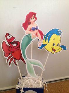 Little Mermaid Centerpiece - Birthday Party - Mermaid birthday - Ariel - Sebastian - Flounder - Little Mermaid Birthday Banner