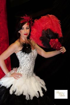 Glamorous black and white feather  wedding dress