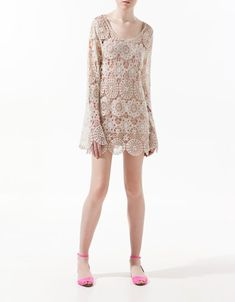LONG SLEEVE CROCHET TOP - Dresses - Woman - ZARA United States